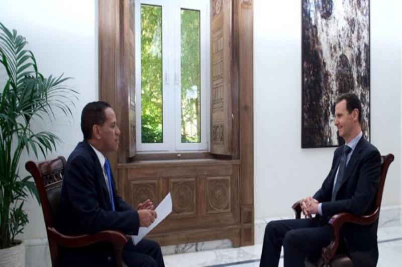 الارهابي بشار الاسد في مقابلة تيليسور الفنزويلية