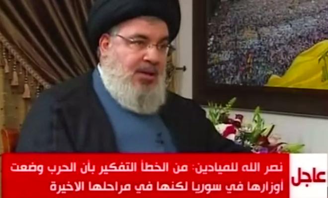 زعيم ميليشيات حزب الله الارهابية : الحرب في سوريا ستنتهي خلال عام أو اثنين على الأكثر