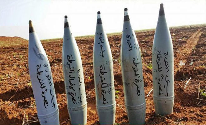 حملة صاروخية على مواقع عصابات الأسد من قبل فصائل الجنوب والشمال السوري نصرة للغوطة