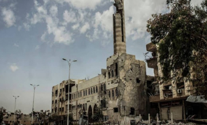 ارتفاع عدد المساجد المهدمة من قبل عصابات الأسد في حي جوبر