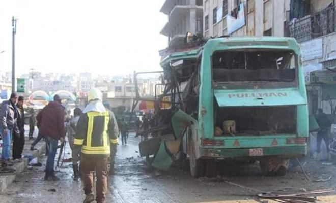 شهداء وجرحى من المدنيين بانفجار حافلة نقل وسط مدينة عفرين